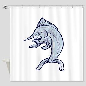 Blue Marlin Fish Isolated Cartoon Shower Curtain