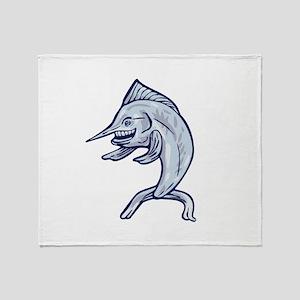 Blue Marlin Fish Isolated Cartoon Throw Blanket