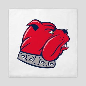 Red Bulldog Head Isolated Cartoon Queen Duvet