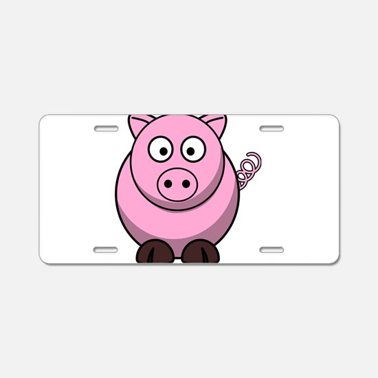 Chubby pink pig Aluminum License Plate