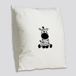Cute Little Zebra Burlap Throw Pillow