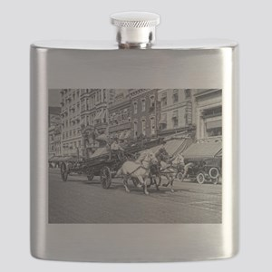 Vintage Horse Drawn Fire Truck (black and wh Flask