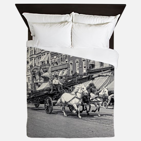 Vintage Horse Drawn Fire Truck (black Queen Duvet