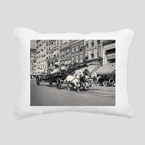 Vintage Horse Drawn Fire Rectangular Canvas Pillow