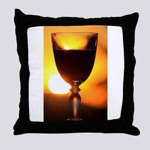 Red Wine and a Sunset Throw Pillow