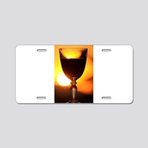 Red Wine and a Sunset Aluminum License Plate