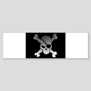 Black, gray and white skull and cro Bumper Sticker