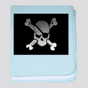 Black, gray and white skull and cross baby blanket