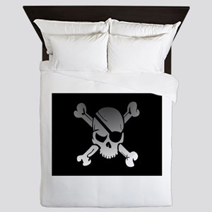Black, gray and white skull and crossb Queen Duvet