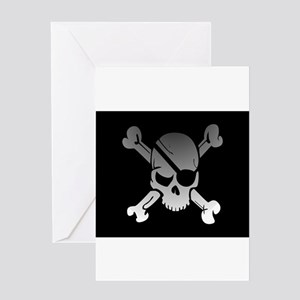 Black, gray and white skull and cro Greeting Cards