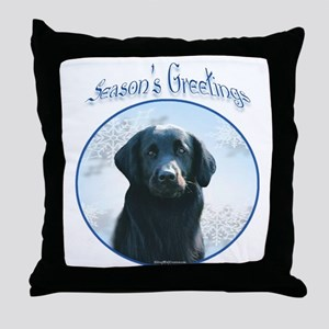 Flat-Coat Season's Throw Pillow