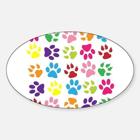 Multiple Rainbow Paw Print Design Decal