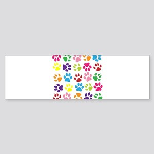 Multiple Rainbow Paw Print Design Bumper Sticker