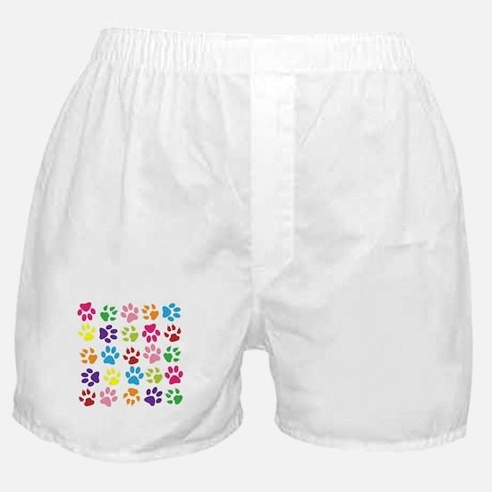 Multiple Rainbow Paw Print Design Boxer Shorts