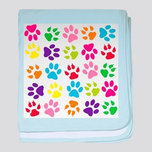 Multiple Rainbow Paw Print Design baby blanket