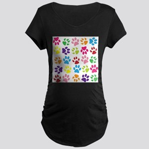 Multiple Rainbow Paw Print Desig Maternity T-Shirt