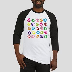 Multiple Rainbow Paw Print Design Baseball Jersey
