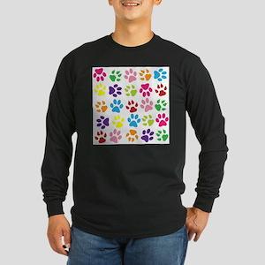 Multiple Rainbow Paw Print Des Long Sleeve T-Shirt
