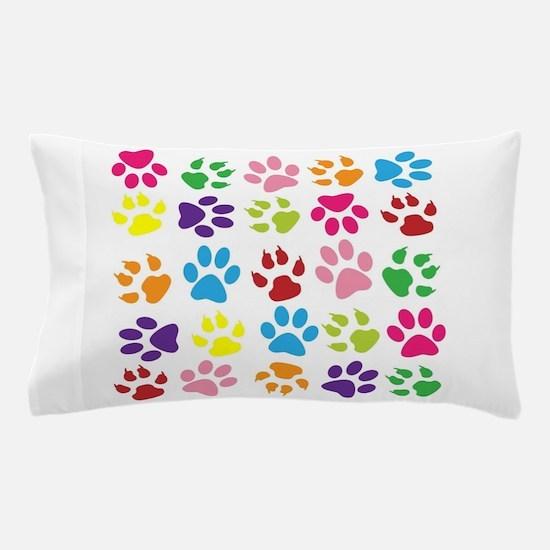 Multiple Rainbow Paw Print Design Pillow Case