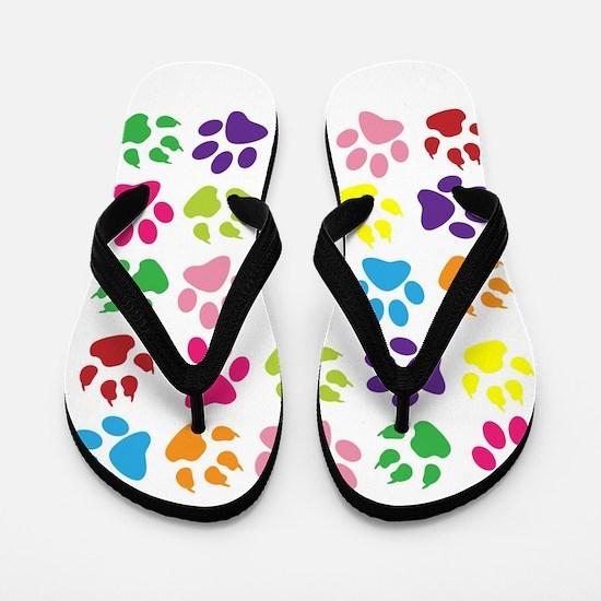 Multiple Rainbow Paw Print Design Flip Flops