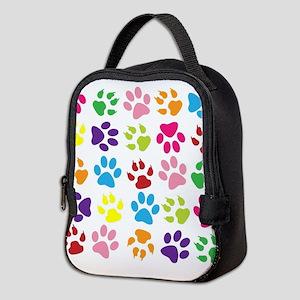 Multiple Rainbow Paw Print Desi Neoprene Lunch Bag