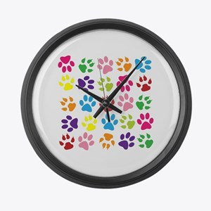 Multiple Rainbow Paw Print Design Large Wall Clock