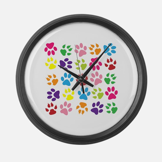 Multiple Rainbow Paw Print Design Large Wall Clock