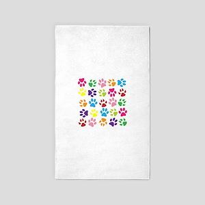 Multiple Rainbow Paw Print Design Area Rug