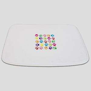 Multiple Rainbow Paw Print Design Bathmat