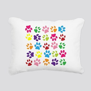 Multiple Rainbow Paw Pri Rectangular Canvas Pillow