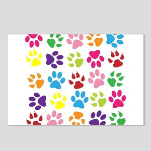 Multiple Rainbow Paw Prin Postcards (Package of 8)