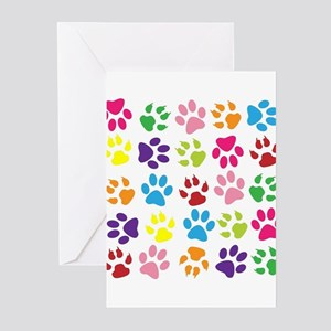 Multiple Rainbow Paw Print Design Greeting Cards