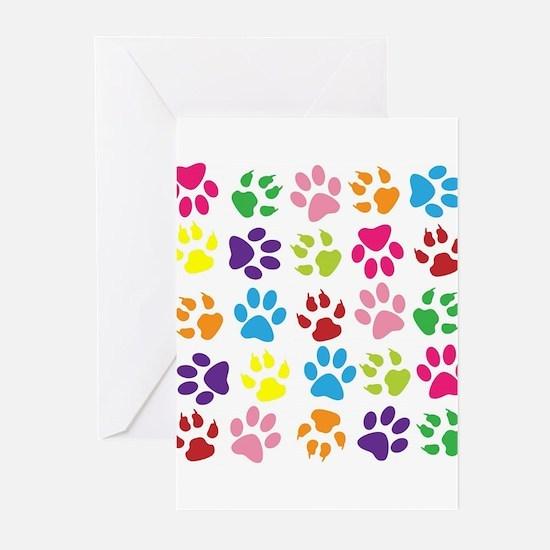 Multiple Rainbow Paw Print Design Greeting Cards