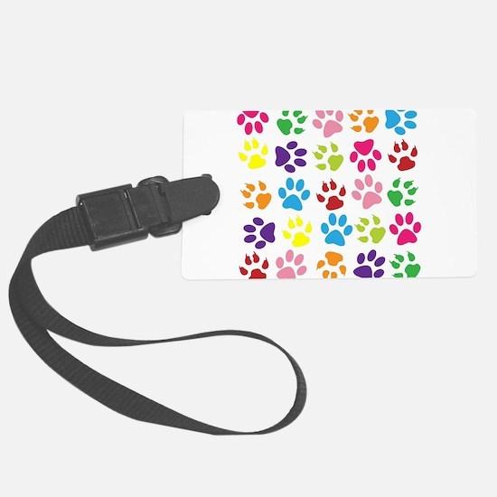 Multiple Rainbow Paw Print Desig Luggage Tag