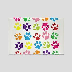 Multiple Rainbow Paw Print Design Magnets