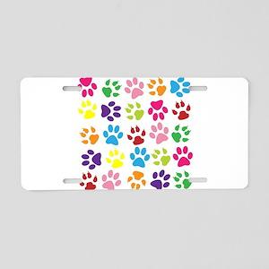 Multiple Rainbow Paw Print Aluminum License Plate