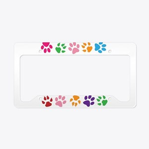 Multiple Rainbow Paw Print De License Plate Holder