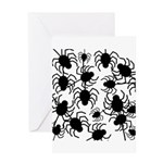 Black Spiders Greeting Cards