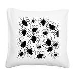Black Spiders Square Canvas Pillow