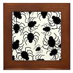 Black Spiders Framed Tile