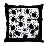 Black Spiders Throw Pillow
