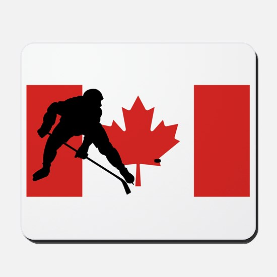 Hockey Player Canadian Flag Mousepad