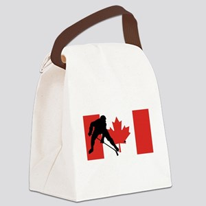 Hockey Player Canadian Flag Canvas Lunch Bag