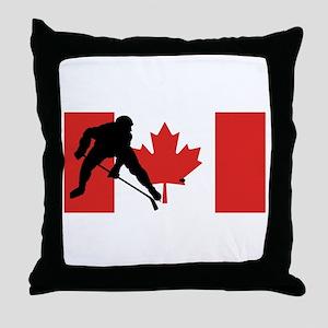 Hockey Player Canadian Flag Throw Pillow