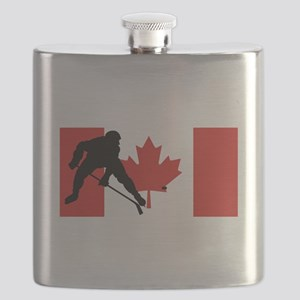 Hockey Player Canadian Flag Flask