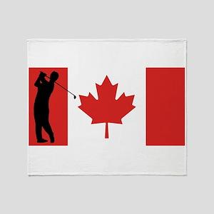 Golfer Canadian Flag Throw Blanket