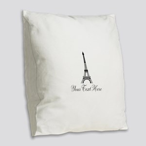 Personalizable Eiffel Tower Burlap Throw Pillow