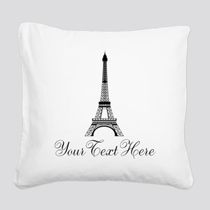 Personalizable Eiffel Tower Square Canvas Pillow