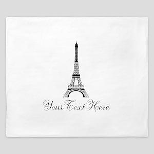 Personalizable Eiffel Tower King Duvet