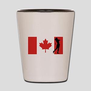Woman Golfer Canadian Flag Shot Glass
